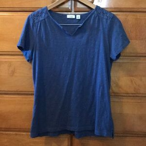 LL Bean Blue T-shirt with Lace Detail on Back